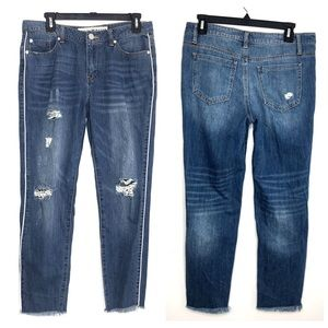 Ashley Mason Distressed Fray Hem Jeans with Piping